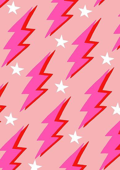 Pink Lightning Bolt Poster By Chimainemary In 2020 Lightning Bolt Bolt Pattern Lightning