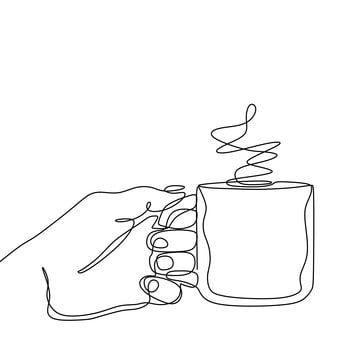 Continuous Line Drawing Of Hand Holding A Cup Of Hot Coffee Drink Hand Clipart Sketch Illustration Png And Vector With Transparent Background For Free Downlo Continuous Line Drawing Line Drawing Coffee
