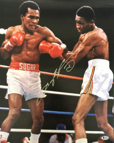 Sugar Ray Leonard Signed 16x20 Vs Tommy Hearns Boxing Photo Bas Sports Boxing Images Fighter Workout