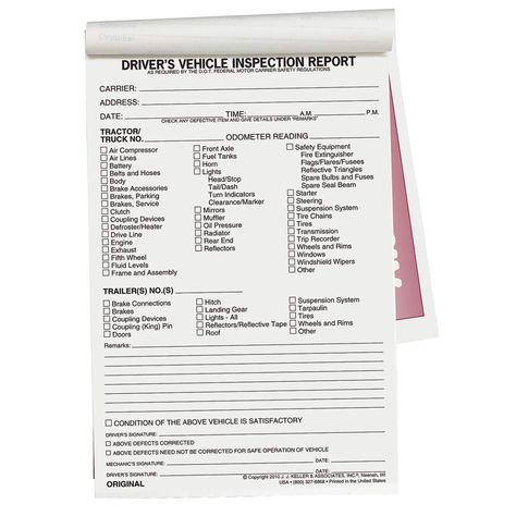 JJ KELLER Vehicle Inspection Form,2 Ply,Carbonless - Vehicle - vehicle appraisal form