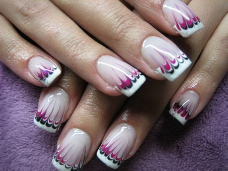Nails French Muster French Nagel Schwarz