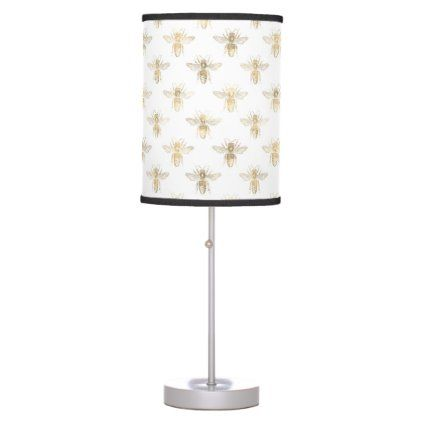 Chic Gold And White Bee Patterned Table Lamp Pattern Sample Design Template Diy Cyo Customize Table Lamp Shades Lamp Table Pendant
