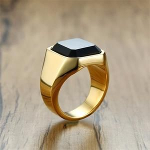 Dignified Black Carnelian Stainless Steel Golden Square Signet Ring In 2020 Signet Ring Gold Signet Ring Rings