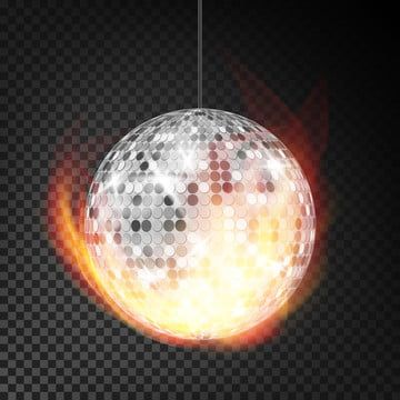 Silver Disco Ball In Fire Vector Realistic Burning Dance Night Club Ball Transparent Background Illustration Ball Disco Mirror Png And Vector With Transparen Fire Vector Transparent Background Disco Ball