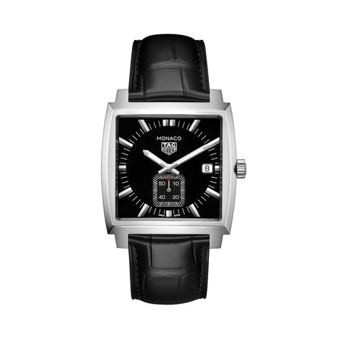 37mm Men's TAG Heuer Monaco Watch with Black Dial and Black Leather Strap