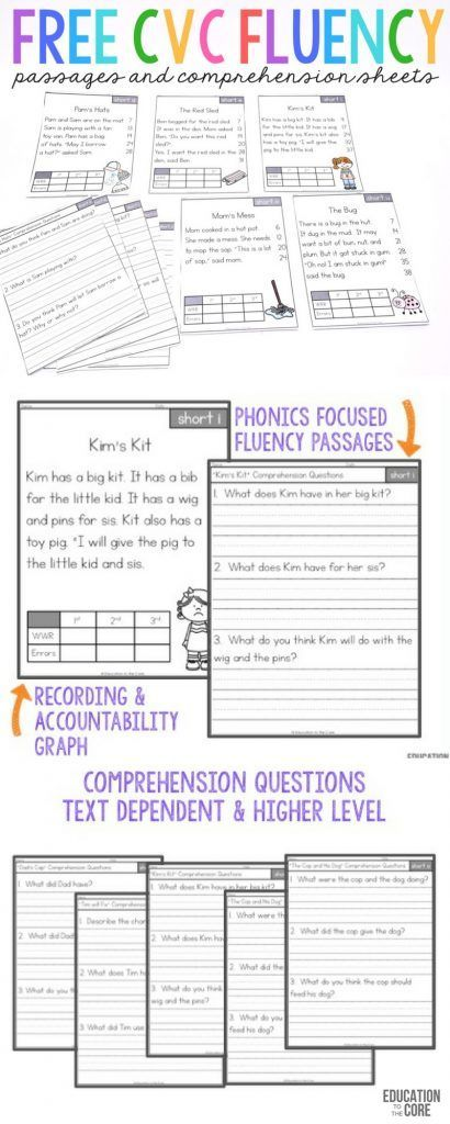 These FREE CVC Fluency Passages Are Great For Kindergarten