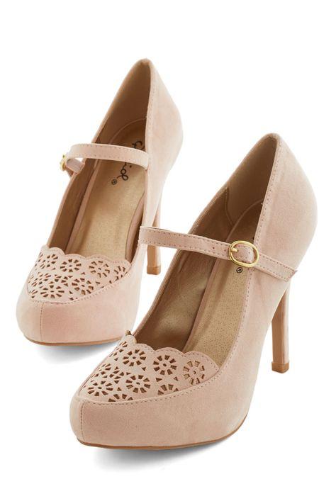 Blush lace heels