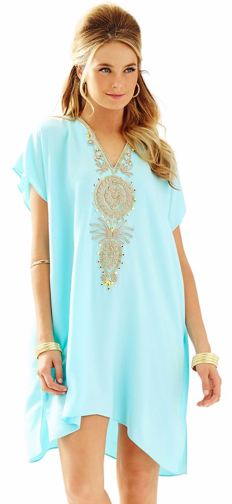 Aqua and Gold embroidered Kaftan Cover-up