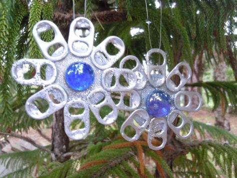 Blue SPARKLY Snowflake ORNAMENTS made from RECYCLED  by lecraftee, $12.00