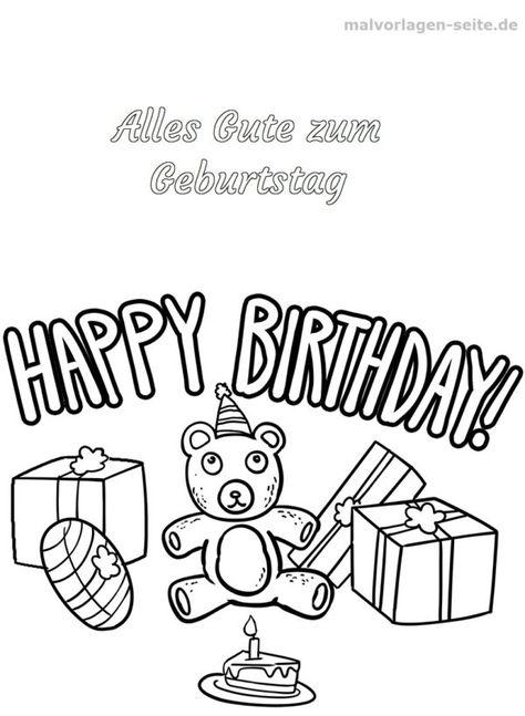malvorlage happy birthday mit bildern  malvorlagen