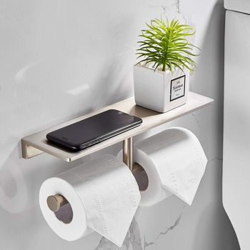 Double Brushed Nickel Toilet Paper Holder Brass Wall Mounted Tissue Roll Holder Modern Bathroom Paper Towel Holder With Shelf Bathroom Paper Towel Holder Toilet Paper Holder Paper Towel Holder Bathroom towel bars and toilet paper holders