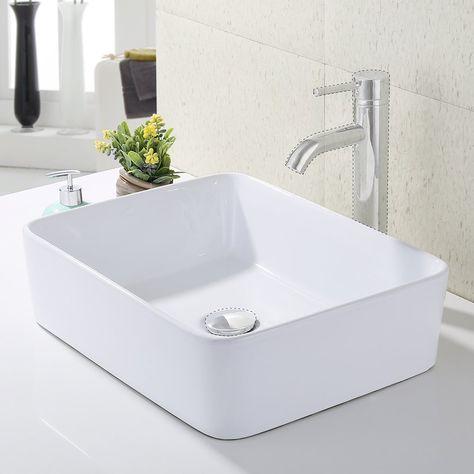 kes bathroom rectangular porcelain vessel sink above counter white rh pinterest ca