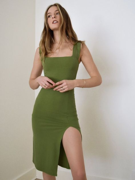 Because it's good to not wear pajamas all day. This is a midi length dress with a square neckline and side slit. The Cassi dress is slim fitting throughout. Fashion Moda, Look Fashion, 70s Fashion, Sheath Dress, Bodycon Dress, Pajamas All Day, Ethical Clothing, Nordstrom Dresses, Aesthetic Clothes