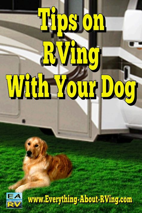 """Tips for RVing With Your Dog. """"Everyone who has ever lost a pet while traveling thought, """"it will never happen to me"""" Read More: http://www.everything-about-rving.com/tips-for-rving-with-your-dog.html"""