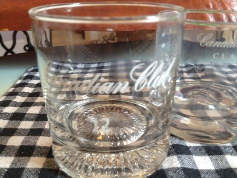 PAIR of vintage (c.1980s) Canadian Club + Canadian Club Classic weighted-base, etched logo lo-ball whisky glasses.