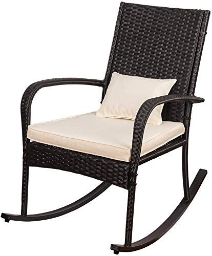 New Sundale Outdoor Indoor Wicker Rocking Chair Cushion Pillow All Weather Rocker Armchair Rattan Furniture Patio Pool Deck Home Weight Capacity 220 Lbs Outdoor Wicker Rocking Chairs Wicker Rocking Chair Rocking