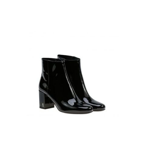 Saint Laurent Babies 90 Ankle Boots ($604) ❤ liked on Polyvore featuring shoes, boots, ankle booties, black leather ankle booties, leather boots, black ankle booties, black ankle boots and leather booties