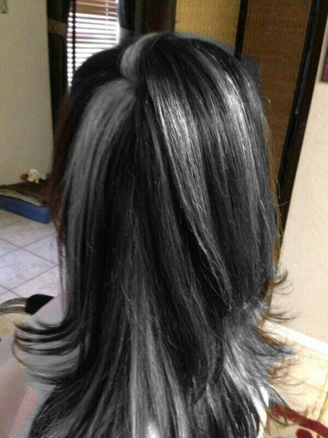 Hair Grey Highlights Rocks 51 Ideas Black Hair With Highlights Gray Hair Highlights Black And Grey Hair