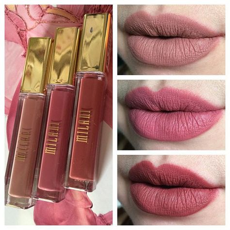 Swatches the new Milani Amore Matte Lip Cremes in Adorable (top), Precious (center), and Loved (bottom). Precious is not really my thing, but Adorable and Loved are right up my alley. #milani #amorematte #amoremattelipcremes