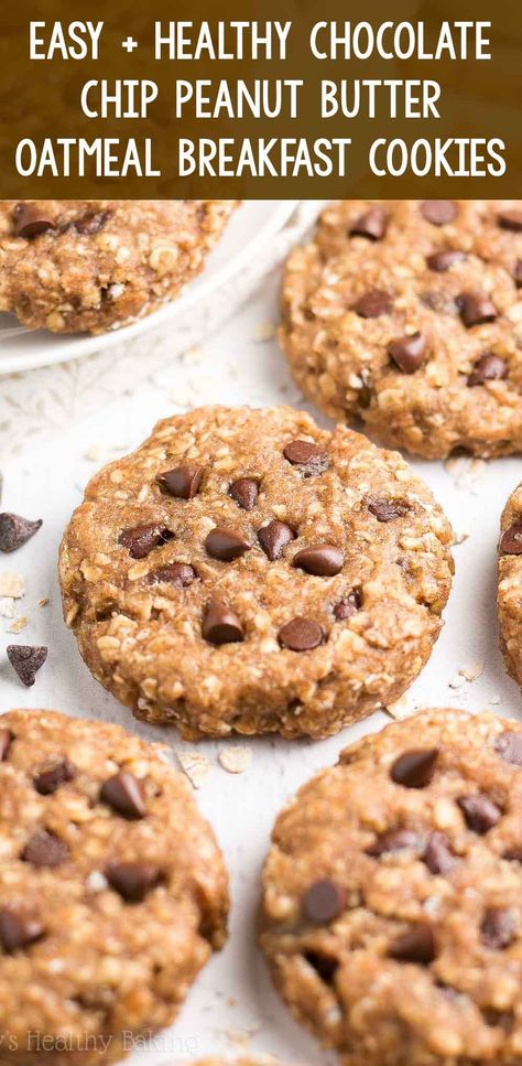 An easy recipe for chewy peanut butter oatmeal cookies full of chocolate chips! Breakfast-friendly with 93 calories & no butter, oil, refined flour or sugar!