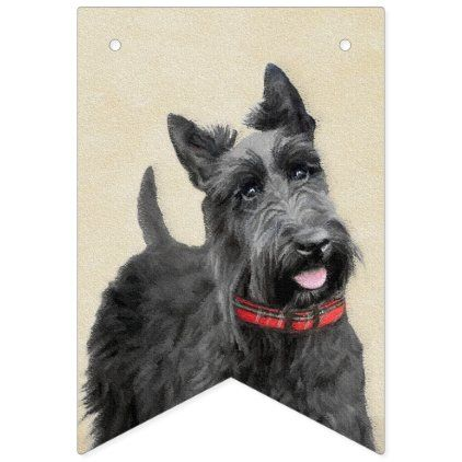 Scottish Terrier Painting Cute Original Dog Art Bunting Flags Zazzle Com In 2020 Dog Art Scottish Terrier Dog Portraits