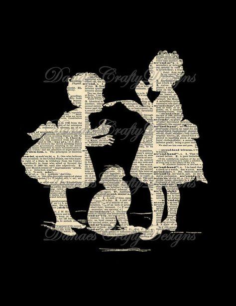 Items similar to Location vacances vente - enfants Vintage Reverse Silhouette Collage sur Dictionnaire Print Background - S29-Télécharger on Etsy