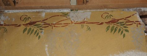 """Original wisteria stencil in a 1906 bungalow. """"If walls could talk…"""" - traditional 