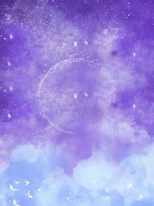 Purple Moon Star Girl Star Background Galaxy Painting Background Images