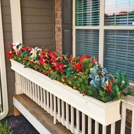 Christmas Window Boxes On Front Porch Railings Front Porch
