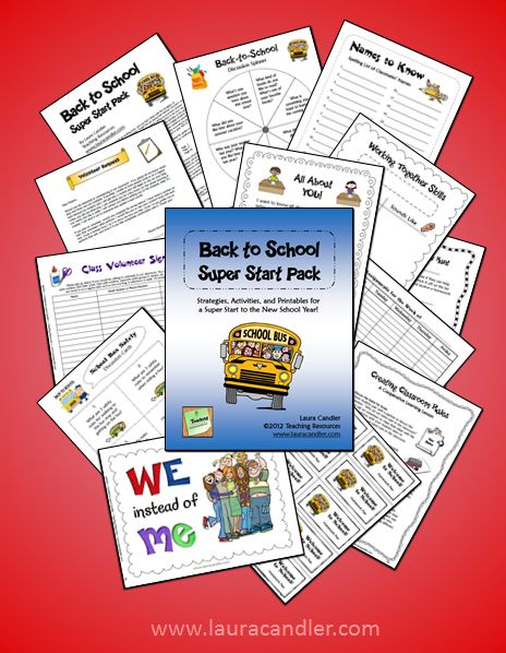 ($) The first week of school is the most critical, and it's important to get your class on the right track from the very first day. Laura Candler's new digital book has over 60 pages of classroom-tested strategies and materials that provide everything you need to get your class off to a super start!