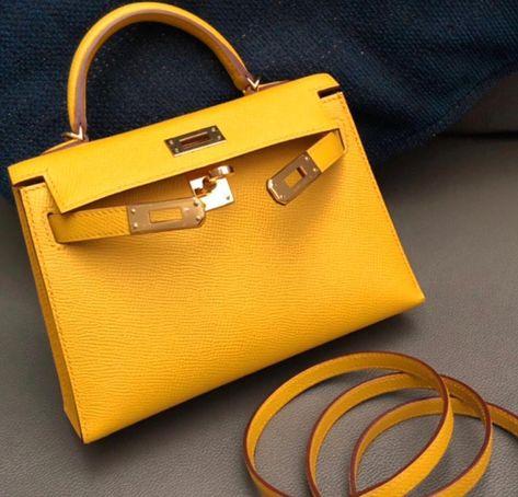 22b29acbb23 Hermes Mini kelly 2 Jaune Amber Epsom with gold hardware  k20  jauneamber   hermes