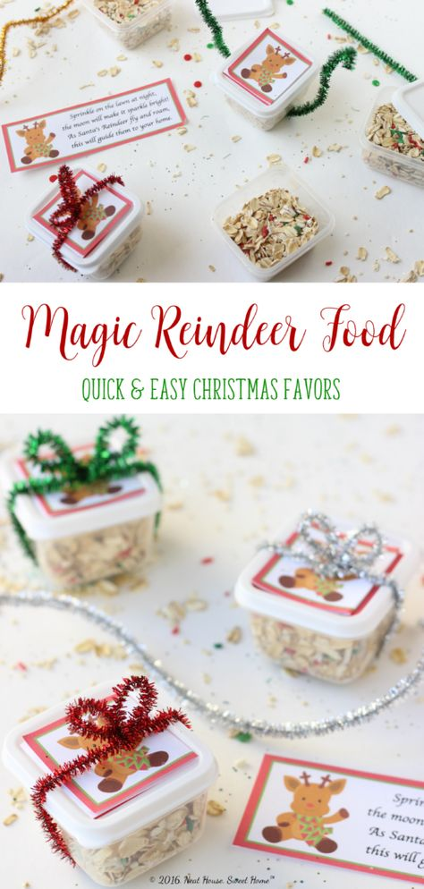 Magic Reindeer Food Favors - Full Tutorial and Printable Poem These magic reindeer food favors are easy to make and are the perfect takeaway for a Christmas party. Kids love to sprinkle it on the lawn on Christmas Eve. Christmas Party Activities, School Christmas Party, Christmas Games For Kids, Christmas Party Favors, Toddler Christmas, Christmas Fun, Kindergarten Christmas, Christmas Crafts For Kindergarteners, Easy Kids Christmas Crafts