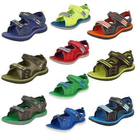 Clarks /'Piranha Boy/' Boys Green Textile Sandals
