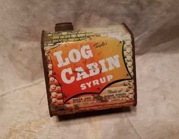 Towle S Log Cabin Syrup Tin Blacksmith 1950s Collectors Weekly Log Cabin Blacksmithing Tin
