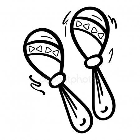 Cartoon Maracas On White Background Coloring Page Adult And Kids