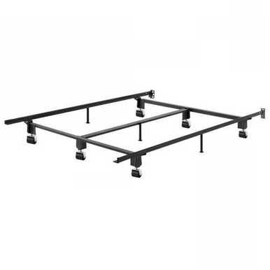 King Size Heavy Duty Metal Bed Frame With Wheels And Headboard