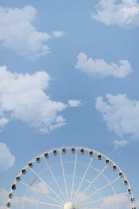 White Ferris Wheel Under White Cloudy Blue Sky