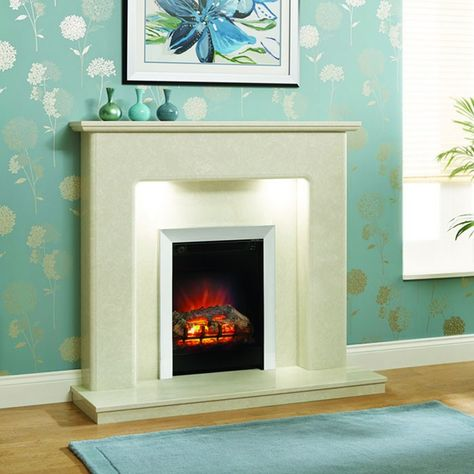 """Stylish modern design featuring fine-tuned bullnose profiling. Supplied complete with surround, back panel and standard lipped hearth. Ideal for gas and electric fires. Valencia 48"""" Micro Marble Surround - JUST £799 #Fireplaces #Marble #DiscountFireplaces #Cheap #Fire #HomeImprovement #HomeDecor"""