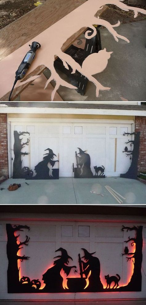 24 Cool DIY Halloween Projects Will Give Your Guests A Frigh.- 24 Cool DIY Halloween Projects Will Give Your Guests A Fright Use led strips to light a garage door silhouette from back, which was created from black-painted plywood or cardboard. Diy Halloween Projects, Soirée Halloween, Dollar Store Halloween, Holidays Halloween, Diy Outdoor Halloween Decorations, Halloween Couples, Halloween Garage Door, Halloween Parties, Halloween Recipe