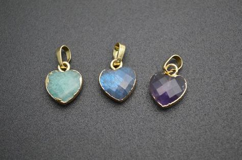Heart Gold Plated Natural Gemstone