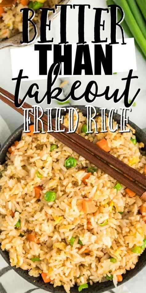 This quick and easy fried rice recipe is better than take out. It's restaurant style, but created at home with easy ingredients you'll have on hand. It comes together so fast and it's so filling. If you're craving real, authentic, homemade stir fry Quick And Easy Fried Rice Recipe, Stir Fried Rice Recipe, Fried Rice Recipe Chinese, Easy Rice Recipes, Rice Recipes For Dinner, Simple Fried Rice, Homemade Chicken Fried Rice, Hibachi Fried Rice, Chicken Fried Rice Recipe Easy