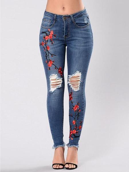 Pretty Embroidered Ripped Stretch Jean Pants Bottoms Oshoplive Jeans Skinny Feminino Denim Rasgado Jeans Skinny Branco