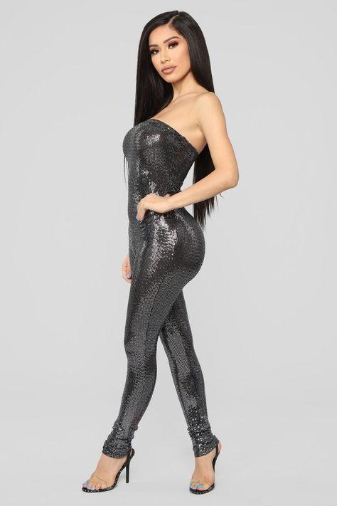 Glitter Nights Jumpsuit - Silver