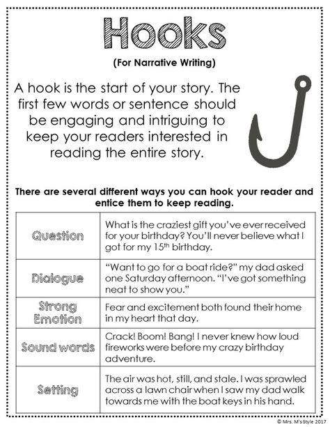Narrative Writing Hooks Anchor Chart