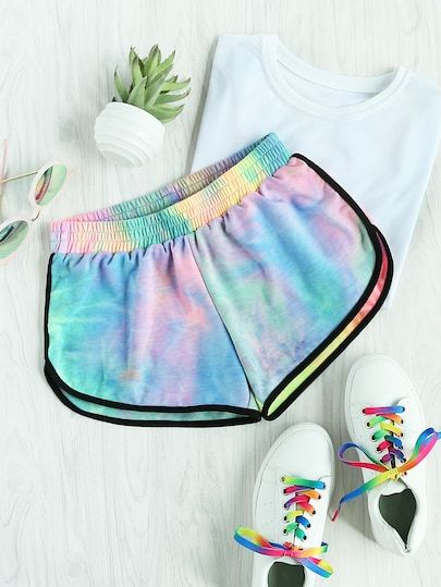 Water Color Shirred Waist Ringer Shorts Sweater Shorts Active