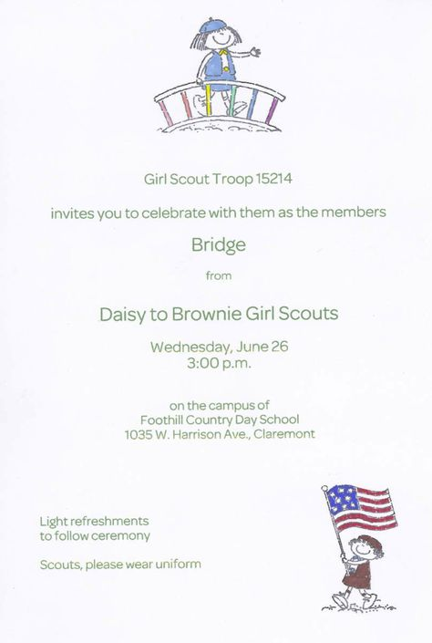 The invitation to our Bridging Ceremony; hand colored