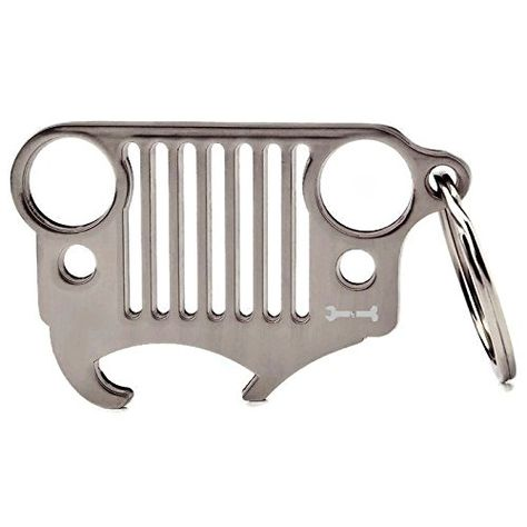 The Stainless Steel Jeep Grill Key Chain With Integrated Bottle