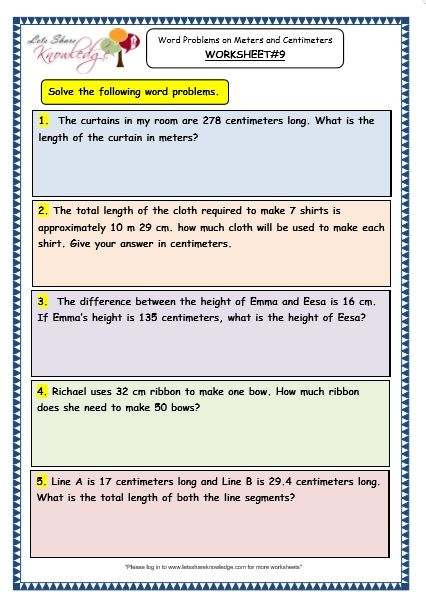 Word Problems On Meters And Centimeters Worksheet 4th Grade Math Worksheets Math Words 3rd Grade Math Worksheets