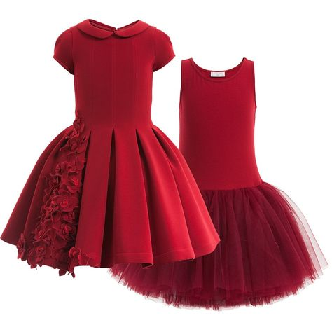 420484639 Monnalisa Chic gorgeous red couture dress made from super smooth neoprene  with beautiful flowers appliqued on the front. With a smart collar and  puffed ...