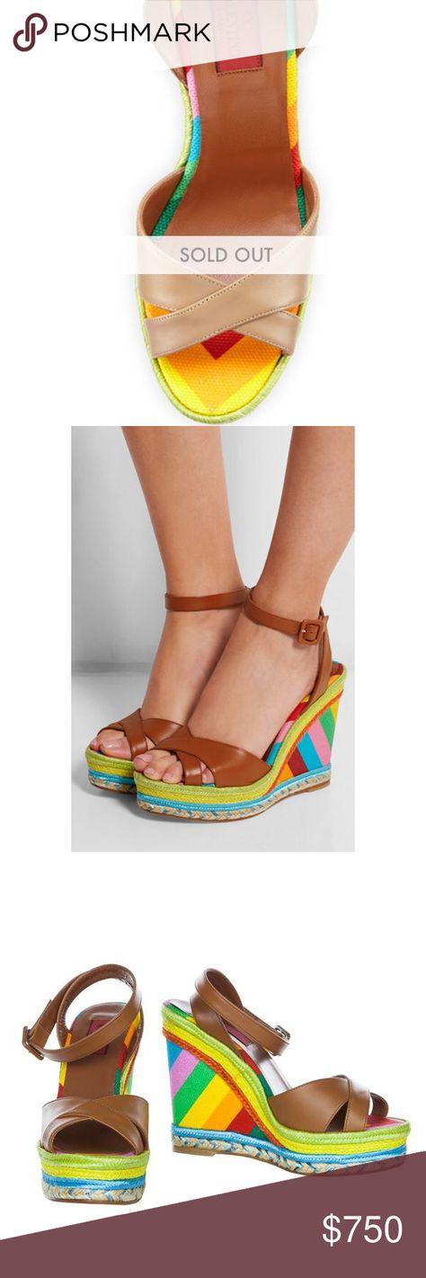 621098d0779 Valentino Multicolor Espadrille Wedge Sandals Authentic Valentino leather espadrille  sandal. 4 .5